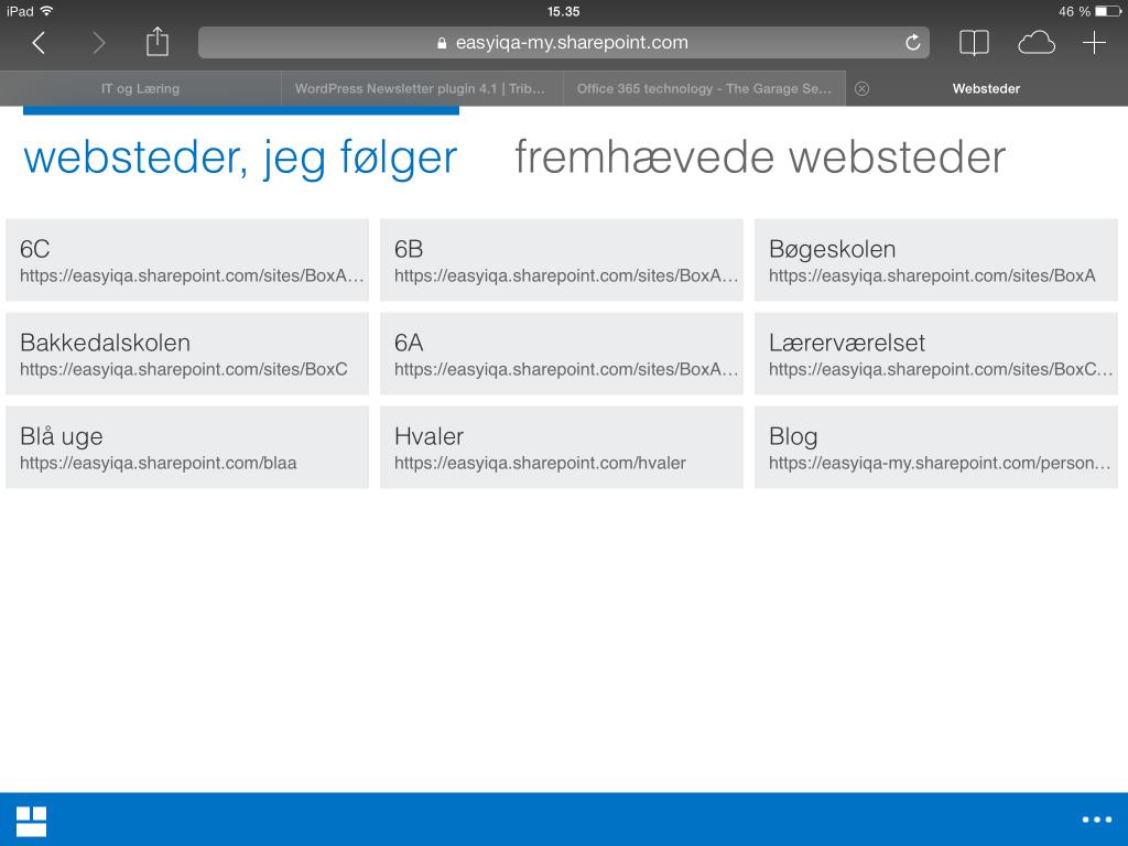 Websteder på iPad